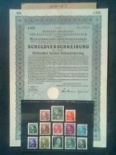 GERMAN THIRD REICH  , BOND / LOAN CERTIFICATE/ STAMPS,, ORIGINAL, 1933 /45