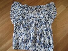 LADIES CUTE SHEER BLUE PATTERNED SHORT SLEEVE TOP BY JUST JEANS - SIZE 10 CHEAP