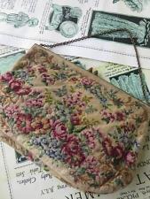 Art Deco Tapestry Petit Point Roses Evening Bag- Gilt Engraved & Cornelian Clasp