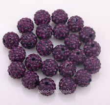 10pcs Shamballa Kristall Perlen Beads Strass Disco Kugel Ball DIY 10mm
