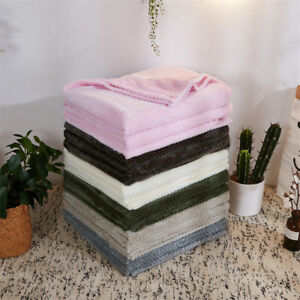 LUXURY POPCORN WAFFLE BLANKET FLEECE TRAVEL THROW SOFA BED WARM COSY EXTRA SUR