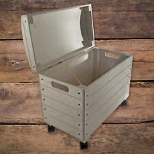 Large Wooden Decorative Chest Trunk Storage Box on Wheels | 50 x 26 x 41.5 cm