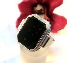 alter Heliotrop Siegelring 835 er Silber Blutjaspis Fingerring Jaspis / bm 327