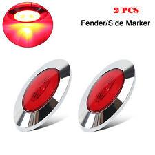 2x Red Mini Oval bright LED Side Marker Light Fender Light+Chrome For truck 24V