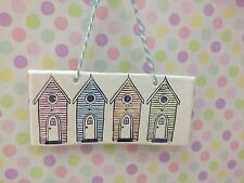Hand Made Hanging 4 Beach Hut Plaque In  Pink Blue Peach Green Great Gift