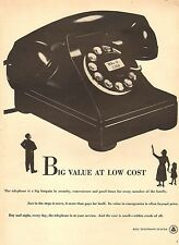 1950 vintage AD BELL TELEPHONE, Giant Classic Black Phone, Big Value!  091217