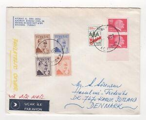 1981 TURKEY Air Mail Cover KADIKÖY to KARUP DENMARK Istanbul ATATÜRK Pair