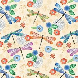 Wilmington Prints Floral Flight Cream Butterfly Allover 11155-174 beige LaMancha
