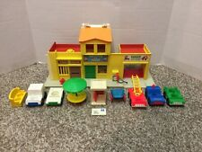 Vintage Fisher Price Little People Stores Mail Police Fire Barber Garage