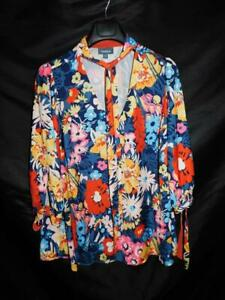 ModCloth 1X Blue Pink Yellow Floral Blouse Ascot Tie V Neck Cuffs Shirt 1XL