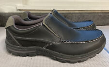 Skechers Mens Braver Rayland Leather Round Toe Slip On, Black Leather, Size 10