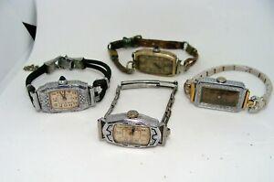 4 Art Deco Vintage Watches 14K GF Bulova CYMA ILLINOIS, LACO 15 & 16 JEWELS