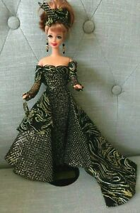 MIDNIGHT's Silhouette One of a Kind BARBIE DOLL custom details, evening gown