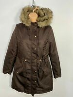 WOMENS H&M UK 10 BROWN ZIP UP CASUAL PARKA PARKER COAT JACKET & FAUX FUR HOOD