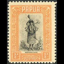 PAPUA 1932-40 1/2d Motuan Girl. SG 130. Lightly Hinged Mint. (AW436)