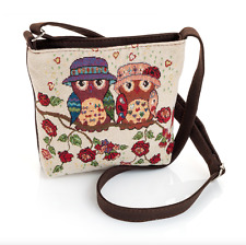 New Womens Girls Mini Cross Body Canvas Owl Print Shoulder Handbag 22x19cms