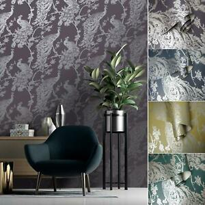 Holden Glistening Peacock Bird Feather Wallpaper Floral Leaf Trail Metallic Roll