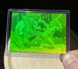 1993 Marvel Universe Series 4 Hologram Spider-Man Vs Venom Green/Yellow