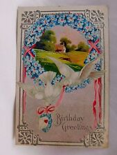 Vintage Embossed Birthday Greetings Post Card Dove & Birds Series Lovely P24