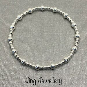 Sterling Silver Beaded Stretch Stacking Bracelet With Large And Small Beads 925