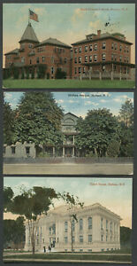 Hudson NY: Three c. 1910s Postcards FIREMEN'S HOME, ORPHAN ASYLUM, COURT HOUSE