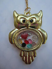 7 crystals and charm Usa Living Memory Gold Owl Locket with