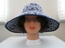 Echo Blue & White Wired Rim Embroidered Sun Hat - One Size