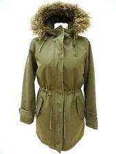 JACK WILLS £149 STONEHAM Fur Hooded Green DETACH LINER Parka Jacket Size 8 #3292