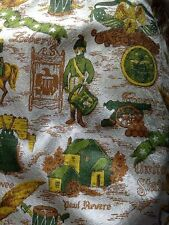Vintage 70's Bicentennial Colonial Historic Americana Curtains Green Gold