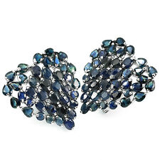 Sterling Silver 925 Large Genuine Natural Sapphire Gem Heart Cluster Earrings