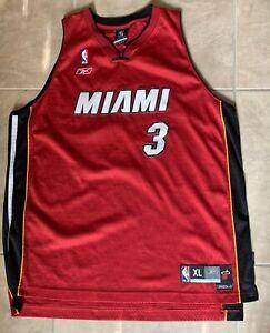 Dwyane Wade 3 Miami Heat Reebok Red NBA Jersey Sewn 54 2XL