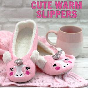 Womens Ladies Ballerina Slippers Faux Fur Pink Unicorn Ballet Slipper Size 3-8