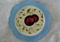 Collectible Hand Painted Plums / Fruit Plate - Blue Scalloped Edge