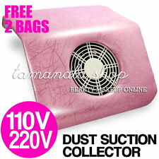 NAIL ART DUST SUCTION COLLECTOR 110V + 2 BAG Salon Tool - PINK with Pattern