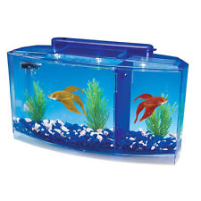 Betta Fish Aquarium Tank With Divider Filter Small Penn Plax Deluxe Triple 0...