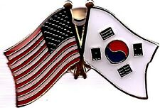 Lot Of 3 South Korea Friendship Flag Lapel Pins - South Korean Crossed Flag Pin