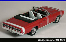 ROAD SIGNATURE 1970 DODGE CORONET R/T CONVERTIBLE Red White Chrome 1/18 DIECAST