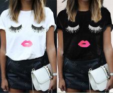 UK Womens Eyelash Lips Summer Loose Short Sleeve Casual T-Shirt Tops Blouse 6-20