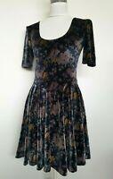 Kimchi Blue Fit & Flare Dress Velvet Velour Floral Open Back Size S