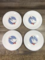 Arcopal Dinner Plates Goose Duck Blue Bow Medallion Ring Milk Glass Set of 4