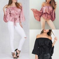 Fashion Women's Summer Sexy Off-shoulder Shirt Casual Blouses Crop Tops T Gift