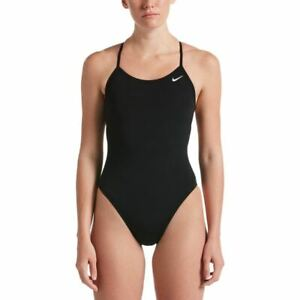 Nike Women's Swimsuit Poly Solid Lace Up Tie Back One Piece -  Black