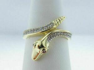 1.25 Ct Round Ruby & Diamond Engagement Snake Ring 14K Yellow Gold Finish