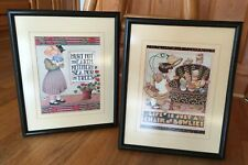 Lot 2 Mary Engelbreit Framed Art 12x15 Chair of Bowlies & Hurt Not The Earth