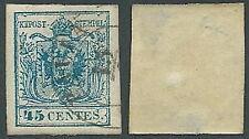 1850 LOMBARDO VENETO USATO STEMMA 45 CENT III TIPO - A122