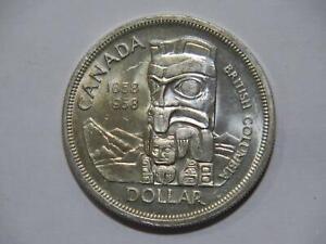 CANADA SILVER DOLLAR $1 1958 BRITISH COLUMBIA TOTEM LOW GRADE WORLD COIN 🌈⭐🌈