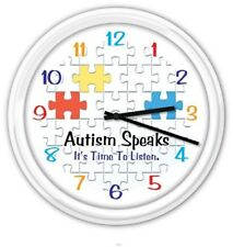 Autism Speaks Awareness SILENT Wall Clock - Puzzle Pieces - GREAT GIFT