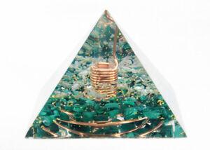 HEALING CRYSTALS Orgonite Pyramid Quartz Malachite Orgone Energy Generator
