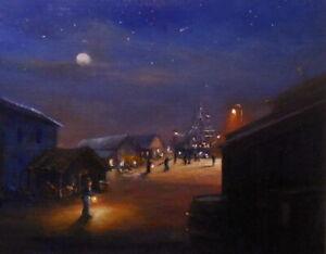 Ship Yard Night 8x10 orig oil painting Celene Farris Maine. nocturne moon stars
