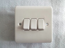 ASHLEY 3 GANG WALL SWITCH  10AMP RATED code PPS32 POLISHED WHITE 2WAY OR 1WAY